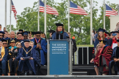 Tammy Duckworth speaking at GW commencement